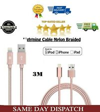 3M Extra Long Nylon Braided Data Charging Cable for iPhone,iPad,iPod etc (Pink)
