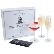 Personalised Dartington Fizz Fizz Fizz set of 3 champagne prosecco flute saucers