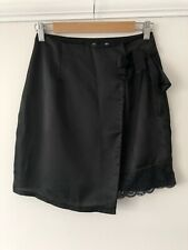 Missguided Black Asymmetric Satin Wrap Around Lace Trimming Skirt 8