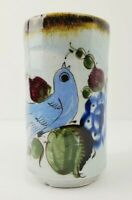 "Vintage Tonala Small Glazed Pottery Vase with Bird - Approximately 5"""