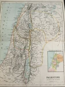 ANTIQUE MAP DATED 1887 PALESTINE ANCIENT AND MODERN MAP OF THE WORLD PRINT ART