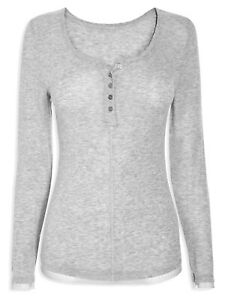 GREY Thermogenic Thermal Lace Trimmed Rib Knit Top LONG SLEEVE UK 6-10 SMALL /M