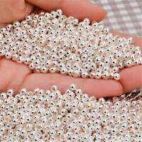 100 PCS /pack 925 Silver Round Ball Beads for Jewelry Making Findings 3MM