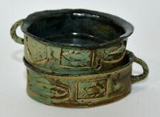Pair Pottery Soup Bowls Handle Mid Century Brutalist Fish Frog Lp Pisces Seafood