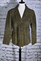 Wilsons Leather Size Large Olive Green Suede Maxima Blazer Jacket Authentic