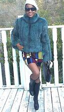 New Designer Bloomingdale's Blue color fox Fur Coat jacket Stroller Sz 8