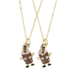 Lux Accessories Gold Tone BFF Chocolate Shake Mustache Charm Necklace Set (3PCS)
