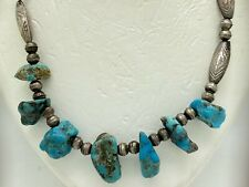 """Navajo Sterling Silver Turquoise Nugget Bench Bead Necklace 16"""" 23g"""