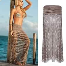 Women's Gypsy Boho Skirts Maxi Beach Crochet Knit Casual Long Skirts Beach Dress