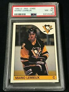 1985 O-Pee-Chee MARIO LEMIEUX #9 PSA 8 RC Pittsburgh Penguins ~SC2A-489