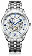 Rotary Men's Silver Stainless Steel Bracelet Skeleton Analogue Kinetic Watch