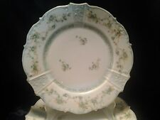 """Vintage Porcelain Germany White with Light Green Flowewith Green Band 8.5"""" Plate"""