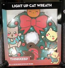 Cat Wreath XMas Led Light Up Rare New