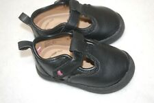Baby Girls Shoes BLACK SUMMER CASUALS Easy Fasten PINK HEART Closed Toe SIZE 5