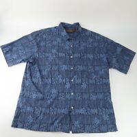 Tori Richard Honolulu Blue Button Up Shirt Hawaiian Floral Leaves Size 2XL XXL
