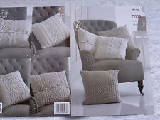 Cushion Covers for King Cole Recycled Cotton Aran Knitting Pattern 4146