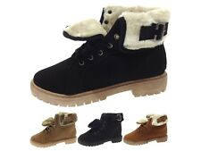 Womens Faux Fur Lined Ankle Boots Winter Worker Combat Military Chelsea Shoes