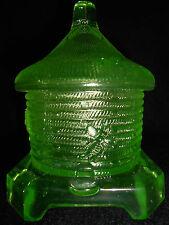 Neon Green Vaseline glass honey pot bee hive jar canary uranium radioactive art