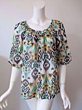 Anthropologie VANESSA VIRGINIA Ikat Prints Sheer Silk Peasant Top Shirt XS