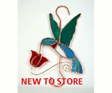 Stained Glass Sun catcher- Hummingbird w/Red Flower Hook -Ge159