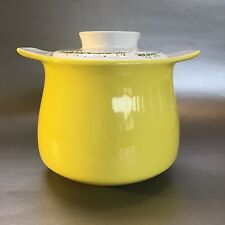 Poole Pottery Yellow Vintage Bean Pot, Covered Casserole England MCM Thyme