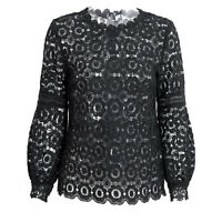 Fashion Women's Lantern Sleeve Floral Lace Top Blouse Hollow Out Short Shirt New