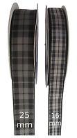 Highland Grey/ Granite Tartan Ribbon - various widths, cut lengths and 20m reels
