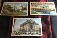 Vintage Linen Washington DC Postcards 3 Linen Willard Jefferson Capitol Unused