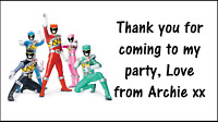 48 Power Rangers Thank You Stickers Labels Party Bag Sweet Cones Personalised