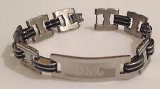 gourmette bracelet stainless steel argent noir plaque inscription filigrane 5059