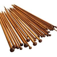 18Sizes 25cm 36pcs Smooth Carbonized Bamboo Single Pointed Knitting Needles
