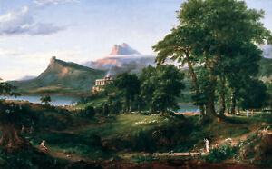 Thomas Cole, The Course of Empire The Arcadian, 60x37cm, Canvas Print