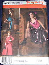 Old West Saloon Girl Costume Misses Size 6-12 Simplicity 2851 Sewing Pattern