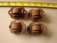 4 Antique Cast Iron Recessed Furniture Rollers