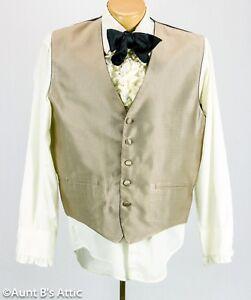Vest Men's Taupe Full Back 5 Button Victorian Steampunk Style Formal Vest