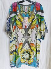 $212 JOHNNY WAS 100% SILK COLORFUL LONG TUNIC TOP HALF SLEEVE SZ 1X NWT