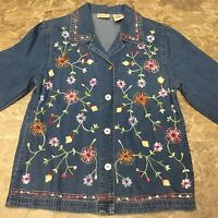 Denim Button Front Floral Embroidered Shirt Bobbie Brooks Sz S 4 6 Top Womens