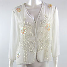 Long Sleeved Clip up Blouse Beaded Formal Floral Design Top Size 8