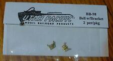 Utah Pacific HO #98 Bells -- Brass w/Bracket pkg(2)