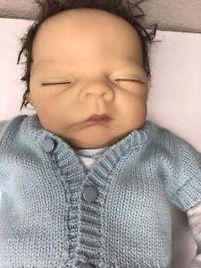 "Reborn baby doll Boy Anatomically Correct ADG 2004 17"" Brown Hair Closed Eyes"