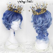 Harajuku Tender Gentleman Lolita Men Curly hair Gradient Blue Fashion Daily Wig