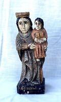 Vintage Hand Carved Wooden Santos Folk Art Statue - Mary & Jesus - Spain