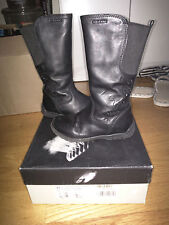 Geox Little Toddler Girls Black Leather Boots US 10 with box
