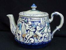 Majolica Embossed Teapot Old Tavern Scene Antique BEST Multi !