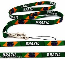 BRAZIL quality satin lanyard neck strap ideal for mobile, id, keys, mp3, USB