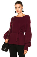 NEW Sea New York Belted ribbed-knit sweater in Maroon - Size L