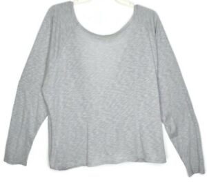 Fabletics Twisted Open Back Top Size XL Long Sleeve Athletic Soft Light Gray