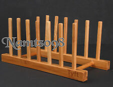 Bamboo Storage Holder Rack Stand/Plate Pan Mail Pot Lid Board Recipe Organizer