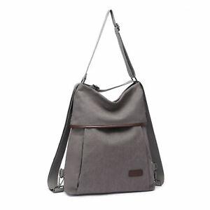 Unisex Two Way Tote Handbag Backpack Daily Canvas School Work Shoulder Bag Retro