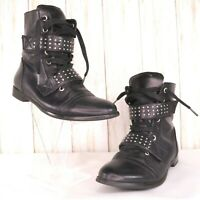 XOXO Black Ankle Combat Boots Size 6 M Womens Straps Lace Up Faux Leather